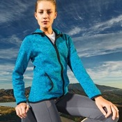 Women's melange knit fleece jacket