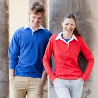 Women's Long Sleeve Plain Rugby Shirt Thumbnail